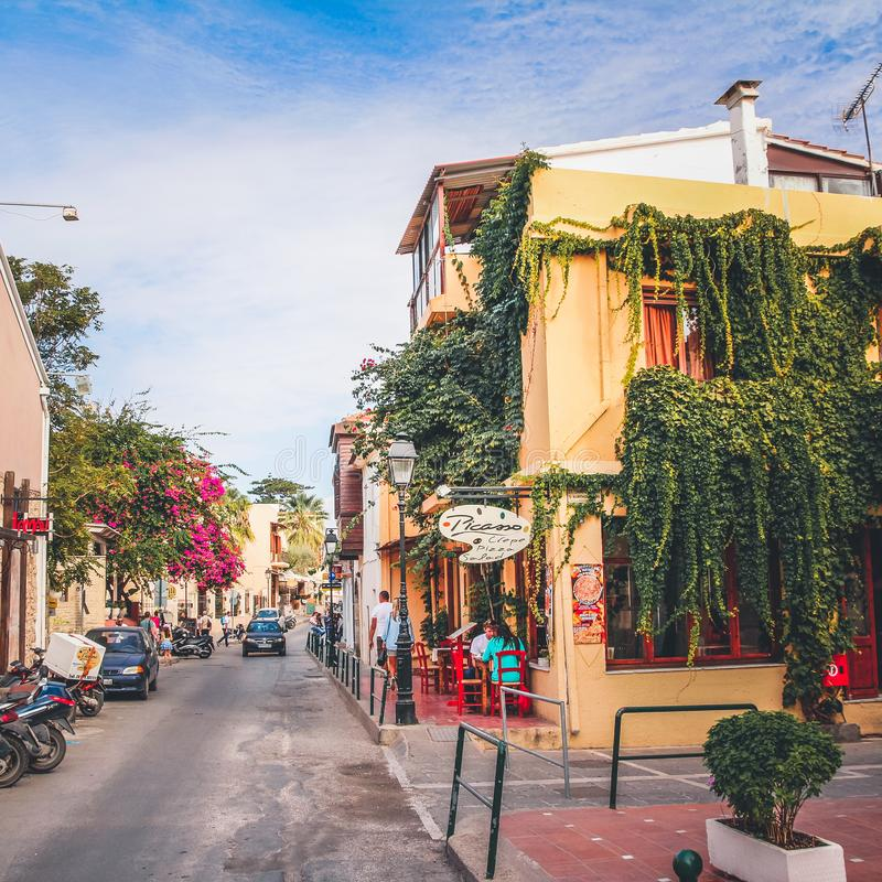 Rethymno town in Crete island, Greek island. Colorful narrow streets stock photos