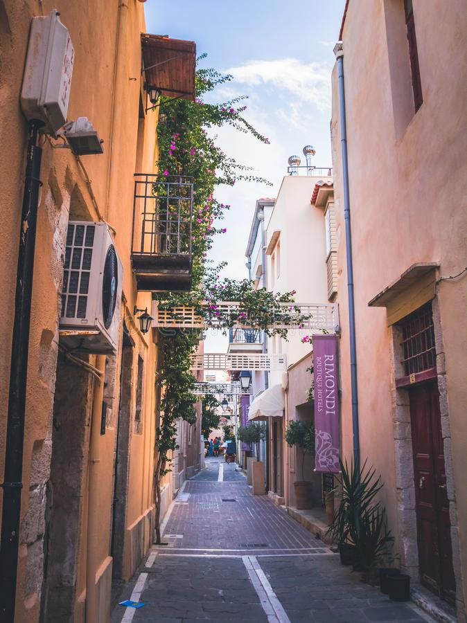 Rethymno town in Crete island, Greek island. Colorful narrow streets royalty free stock images
