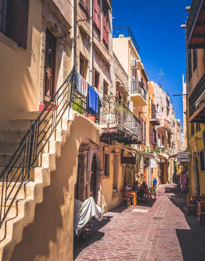 Rethymno town in Crete island, Greek island. Colorful narrow streets royalty free stock image