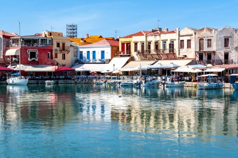 Rethymnon,克利特海岛,希腊威尼斯式港口  免版税库存照片