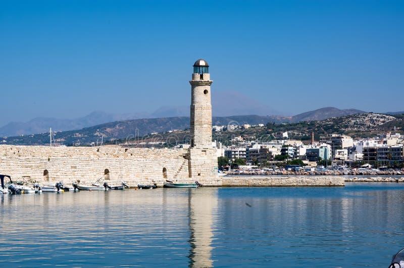 Rethymnovuurtoren, het eiland van Kreta, Griekenland stock fotografie