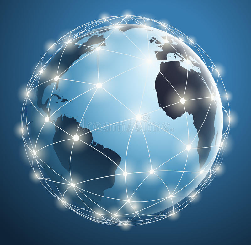 Reti globali, collegamenti digitali intorno alla mappa di mondo
