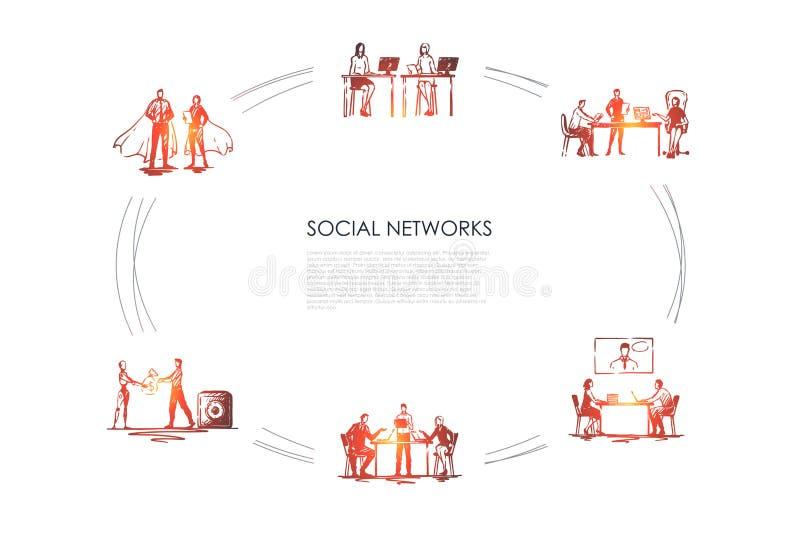 Reti sociali - gente di affari in ufficio che comminicating con i computer portatili e l'insieme di concetto di vettore delle esp illustrazione di stock