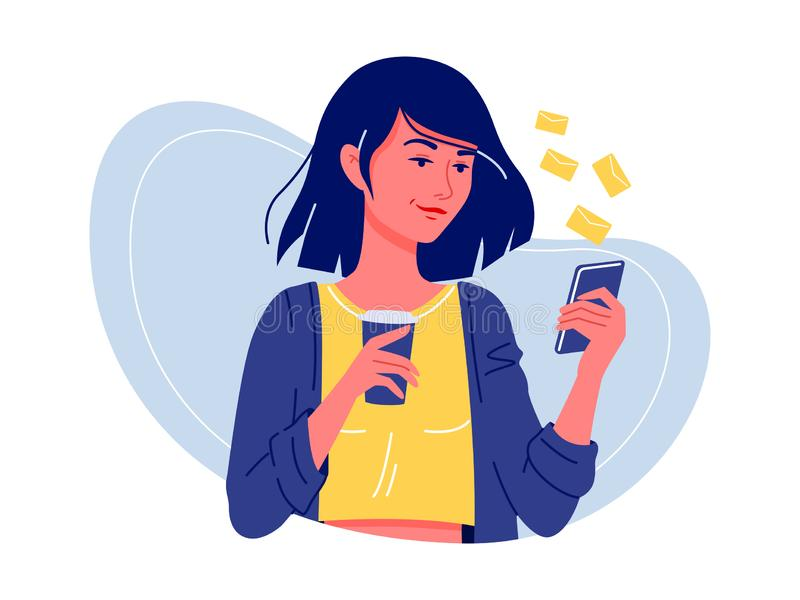 Reti sociali Giovane condizione felice della donna con lo smartphone ed il caff? che chiacchierano con gli amici Comunicazione di immagine stock libera da diritti