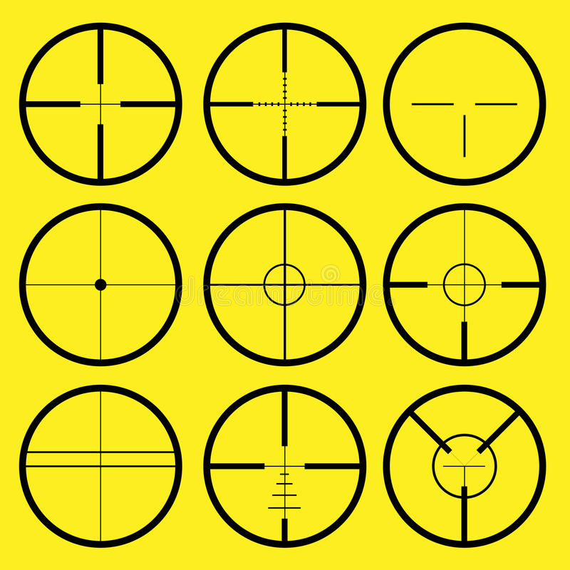 Reticle, crosshair. Different types of crosshair or reticle, used for precise alignment or for aiming with firearms vector illustration
