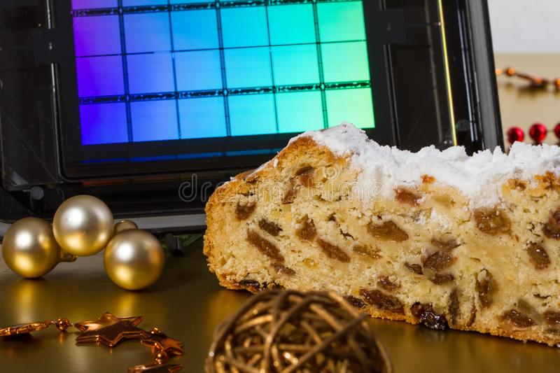 Semiconductor Christmas. A reticle with German Dresdner Christstollen – a classical German christmas cake. Use for semiconductor stock photos