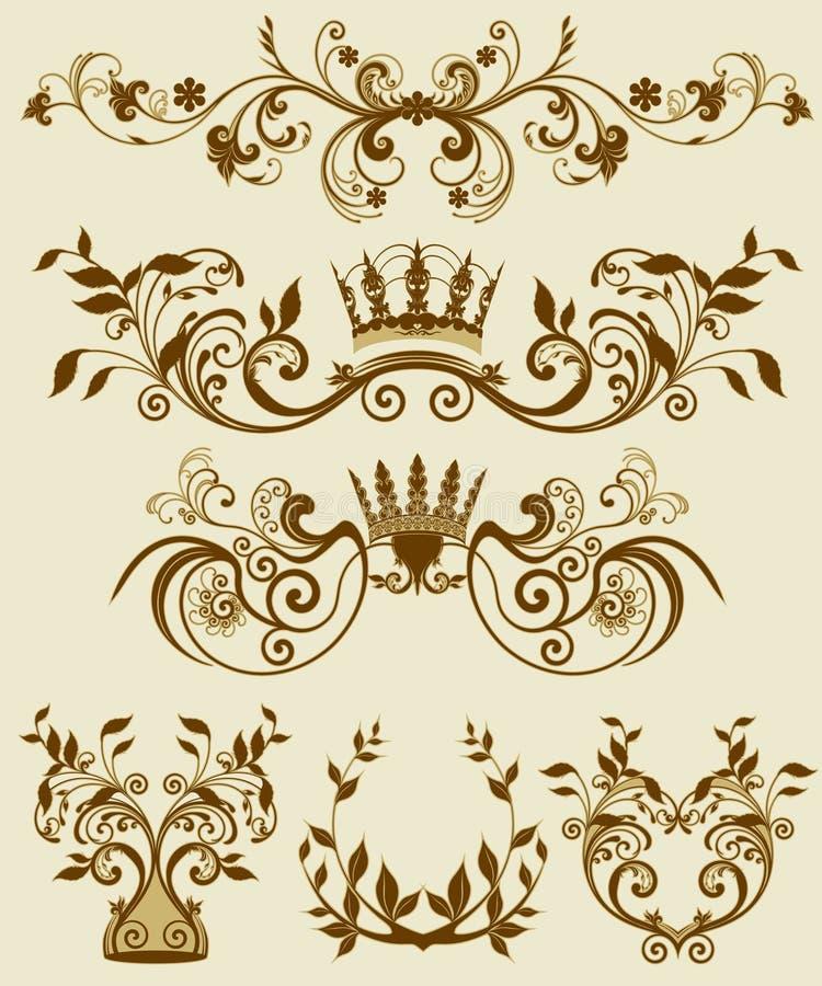 Reticoli decorativi floreali in stiletto barrocco e immagine stock libera da diritti