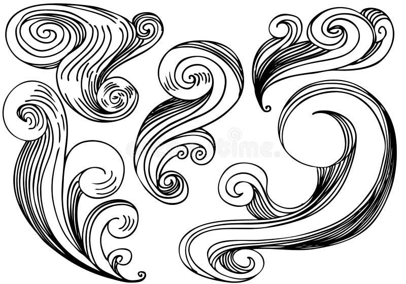 Reticoli del vento dell'onda illustrazione vettoriale