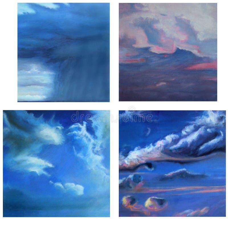 Reticoli della nube in quattro pitture fotografie stock