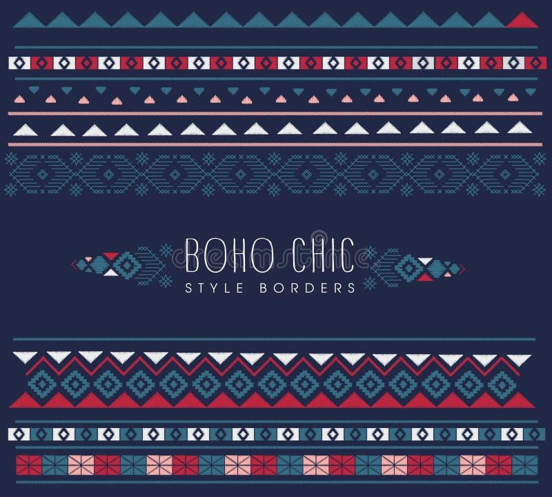 Reticoli etnici variopinti Fondo nello stile di boho, modelli geometrici struttura tribale di vettore illustrazione di stock
