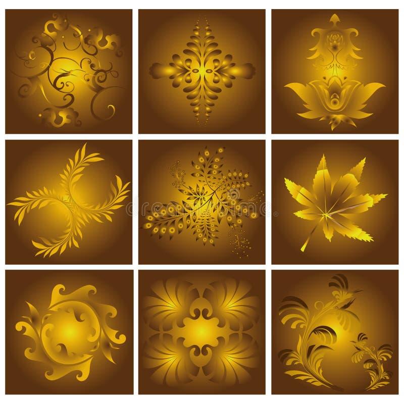 Reticoli floreali dorati immagini stock libere da diritti