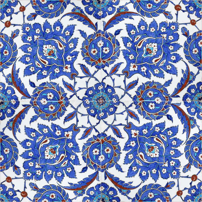 Reticoli floreali sulle mattonelle dell'ottomano, Costantinopoli, tacchino immagini stock libere da diritti