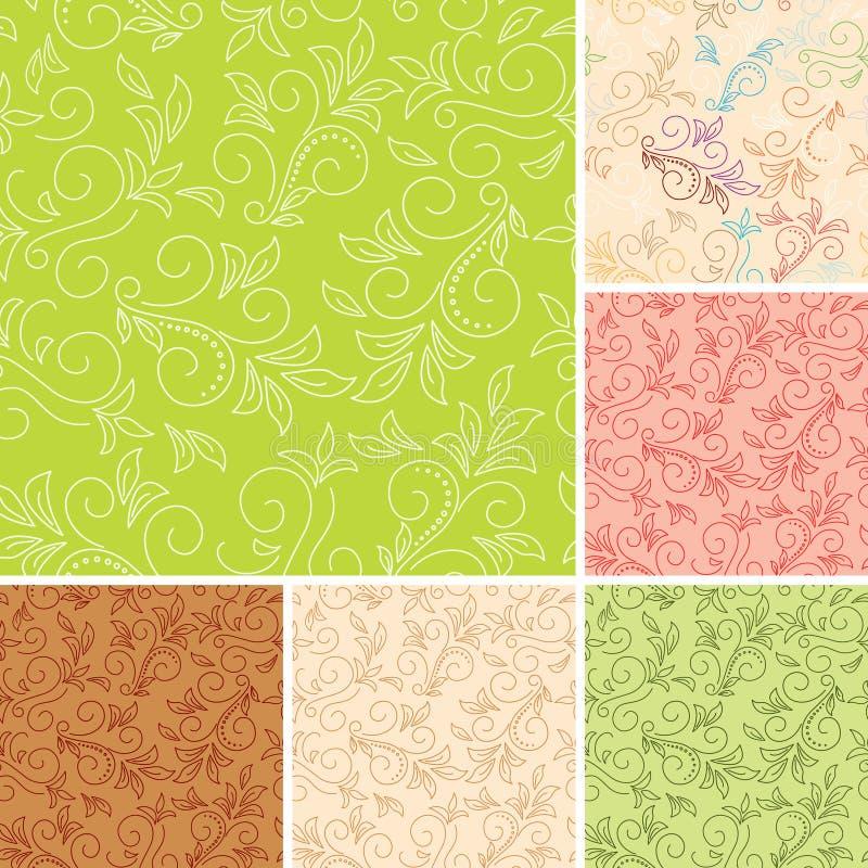 Reticoli senza giunte di colore con la flora illustrazione di stock