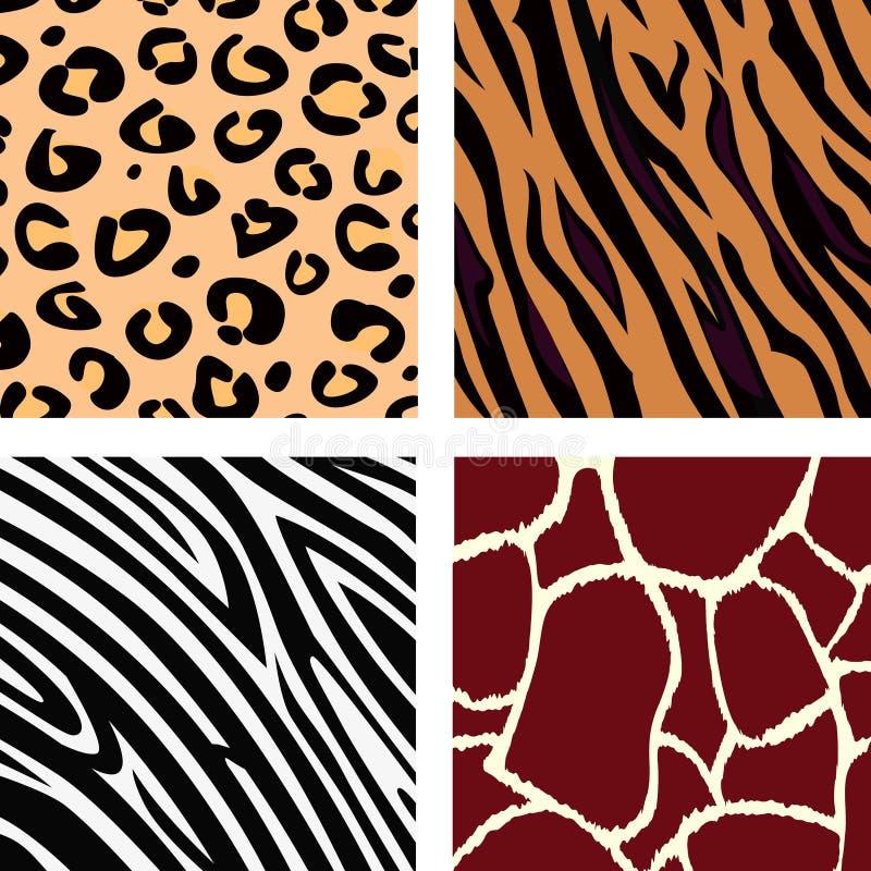 Reticolo animale - tigre, zebra, giraffa, leopardo illustrazione vettoriale