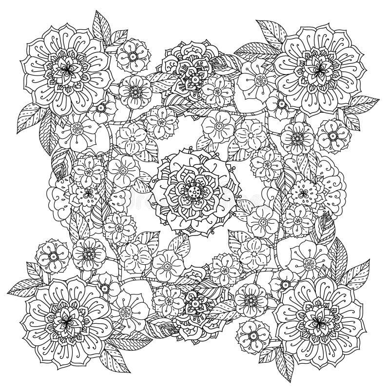 Reticolo 08 Arte di stile della mandala Zentangle illustrazione di stock