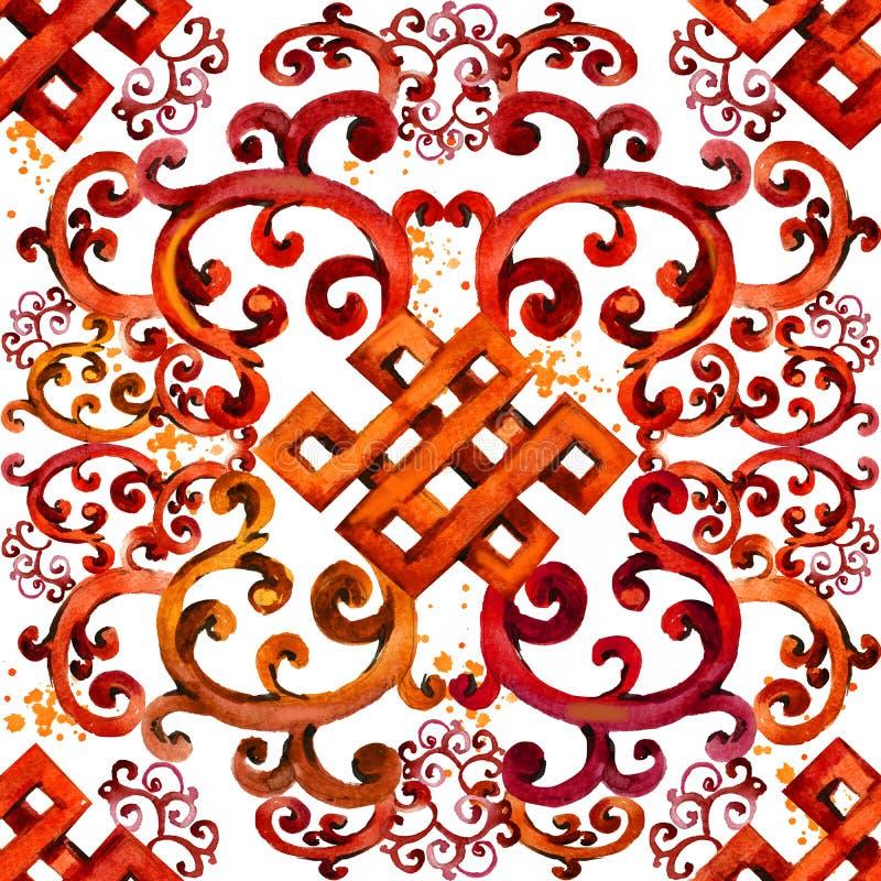 Reticolo asiatico ornamento senza cuciture orientale Origine etnica dell'acquerello royalty illustrazione gratis