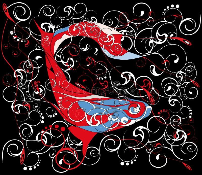 Reticolo astratto con i pesci di mare illustrazione vettoriale