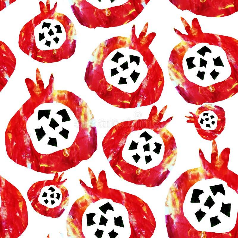 Reticolo astratto senza giunte I frutti sono fatti nella tecnica di collage del fondo dell'acquerello Disegnato a mano decorativo illustrazione di stock