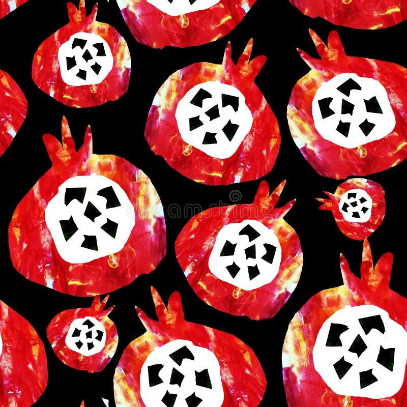 Reticolo astratto senza giunte I frutti sono fatti nella tecnica di collage del fondo dell'acquerello Disegnato a mano decorativo royalty illustrazione gratis