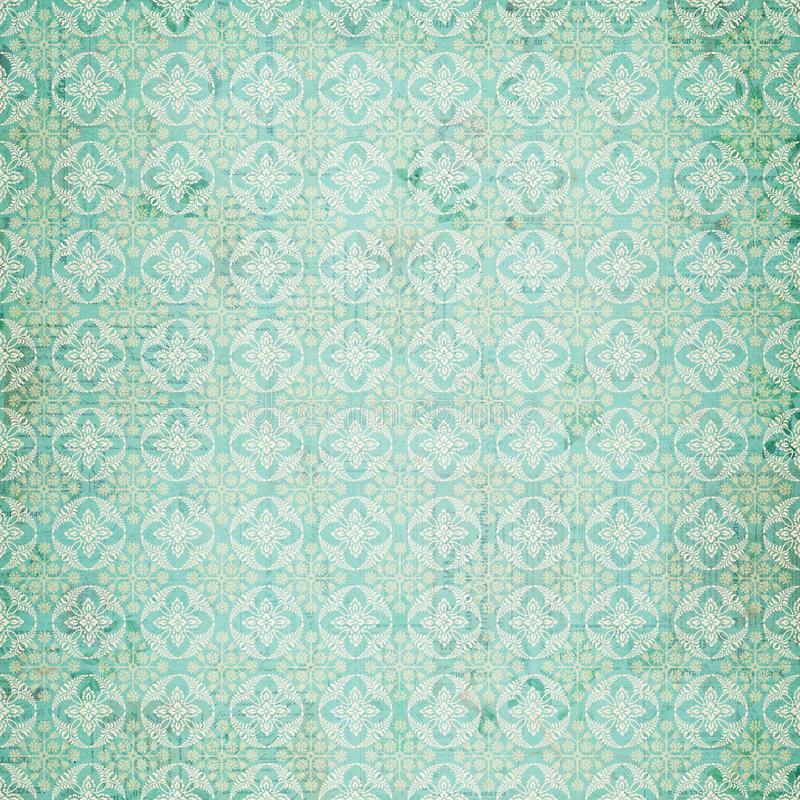 Reticolo blu di ripetizione del damasco dell'annata illustrazione di stock