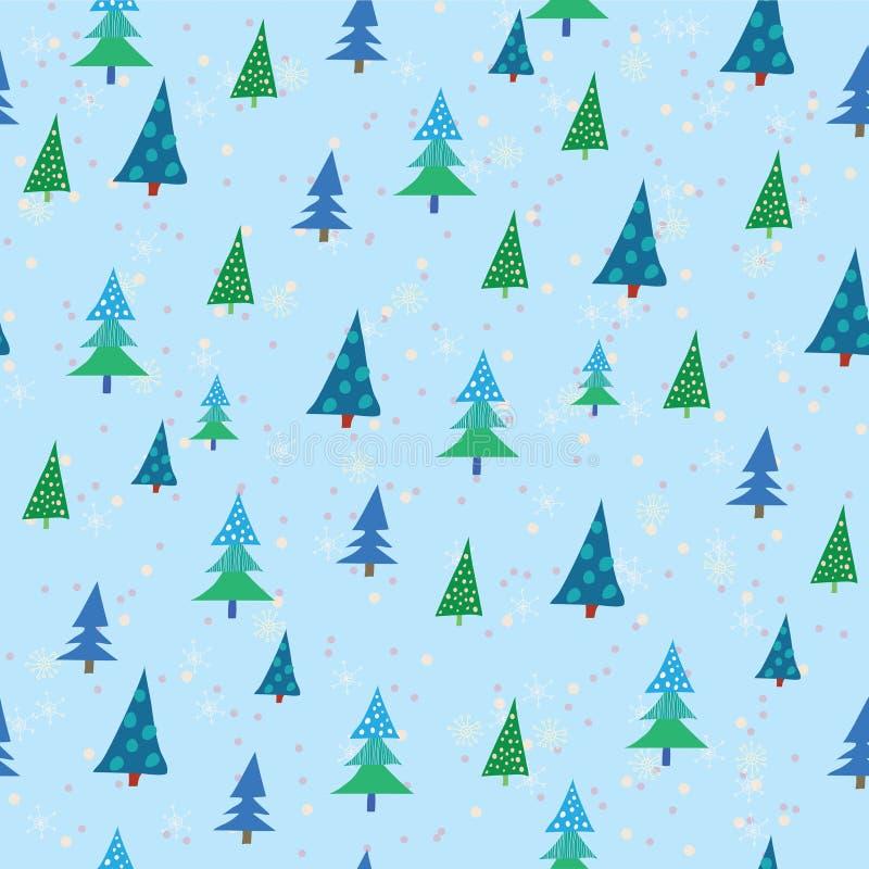 Reticolo con gli alberi di Natale illustrazione vettoriale