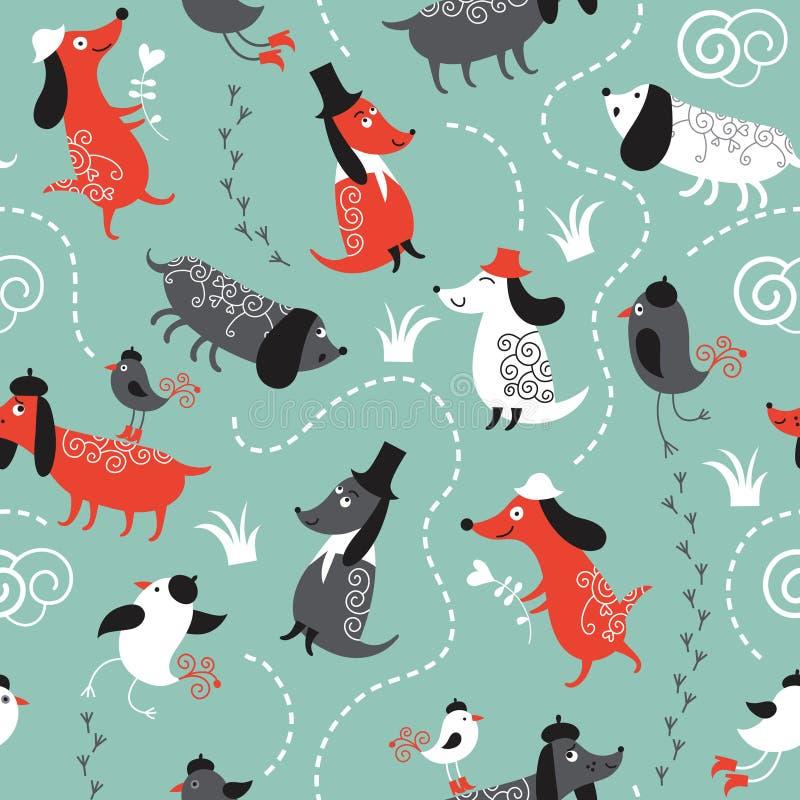 reticolo con i cani e gli uccelli illustrazione vettoriale