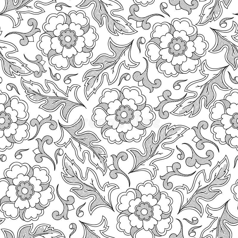Reticolo con i fiori astratti Pagina del libro da colorare illustrazione di stock