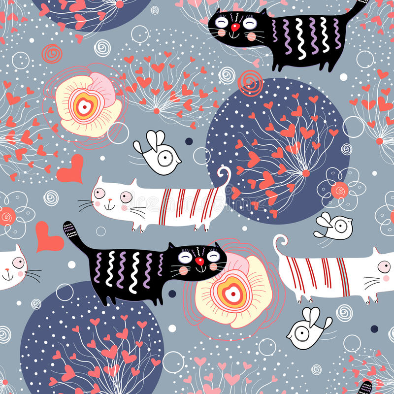 Reticolo con i gatti ed i cuori royalty illustrazione gratis