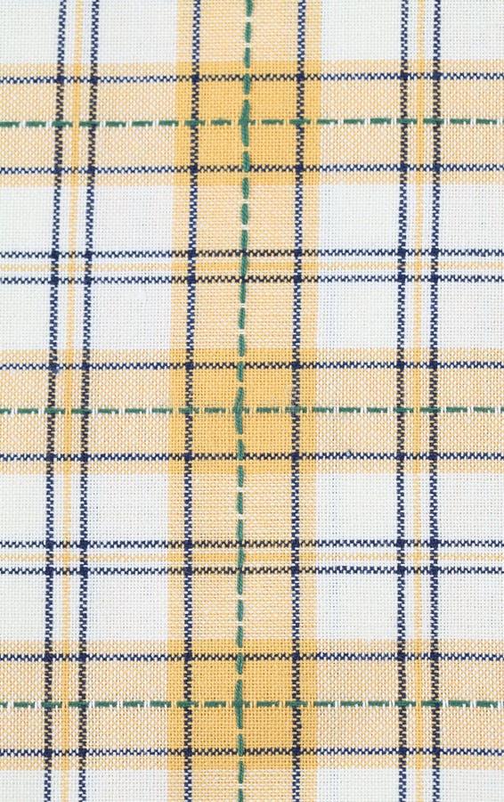 Reticolo controllato colore giallo del tovagliolo di piatto immagine stock libera da diritti