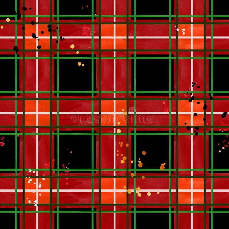 Reticolo controllato rosso del tessuto struttura senza cuciture del plaid del controllo fotografia stock libera da diritti