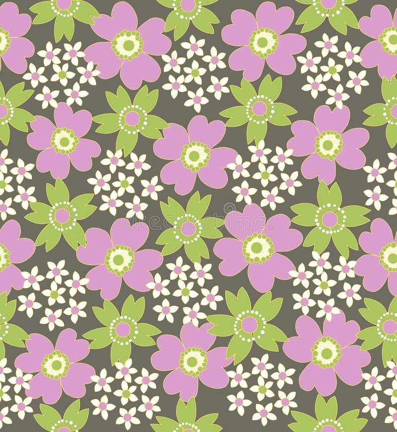 Reticolo coperto di tegoli senza giunte floreale illustrazione vettoriale