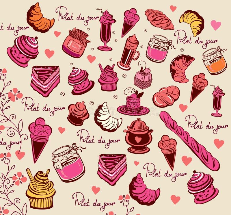 Reticolo culinario. Simboli di Parigi. illustrazione di stock