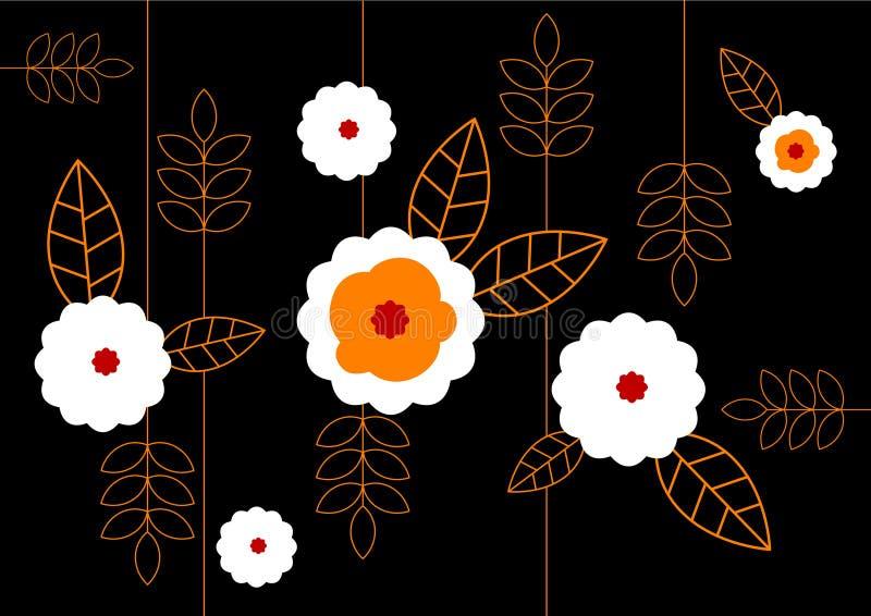 Reticolo dei fiori bianchi su priorità bassa nera. Arte di vettore illustrazione di stock