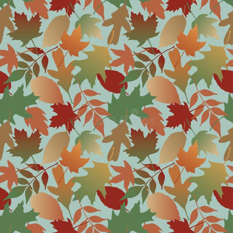 Reticolo dei fogli di autunno con priorità bassa blu royalty illustrazione gratis