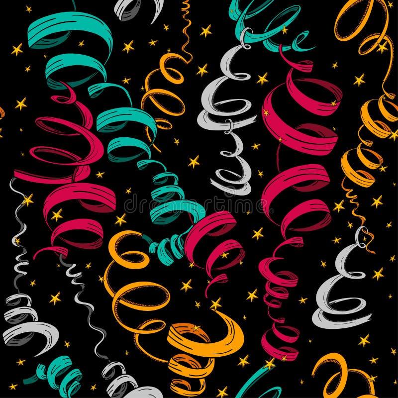 Reticolo dei nastri e dei coriandoli di feste illustrazione vettoriale