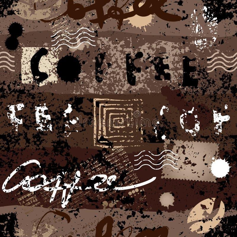 Reticolo del caffè di Grunge illustrazione di stock