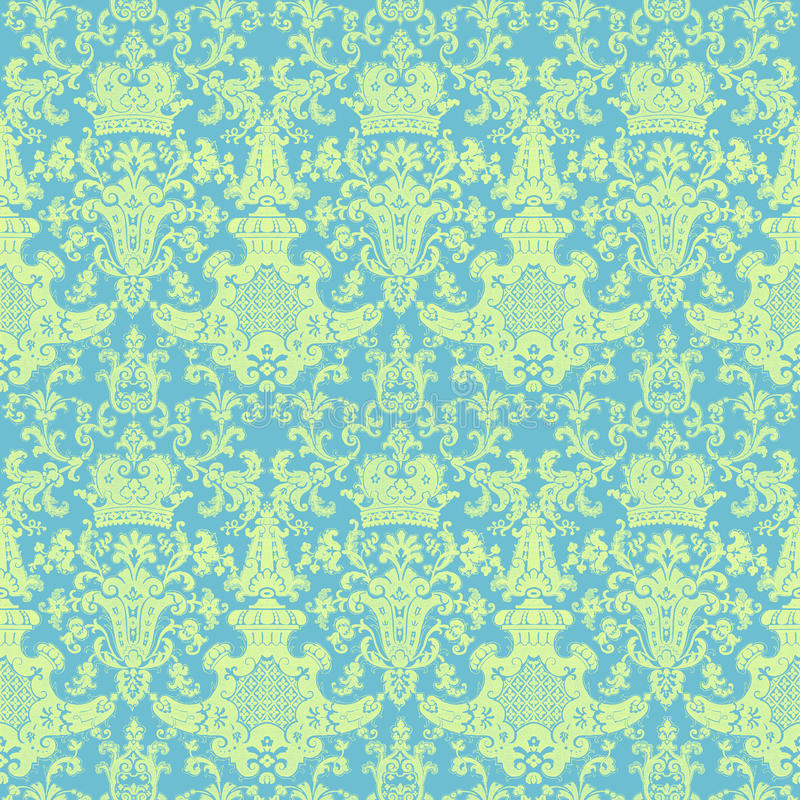Reticolo del damasco di verde blu dell'annata del Victorian royalty illustrazione gratis