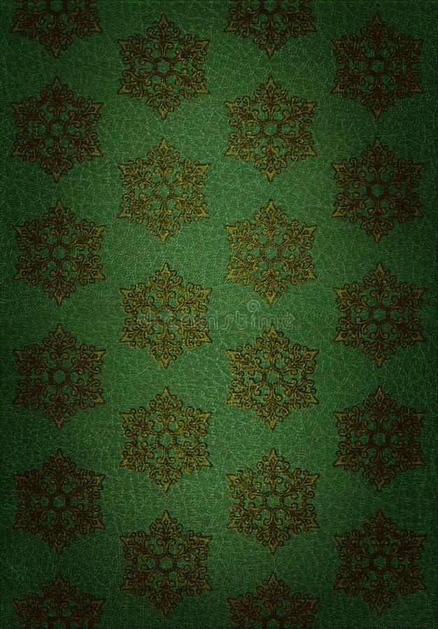 Reticolo del fiocco di neve dell'oro su cuoio verde immagine stock