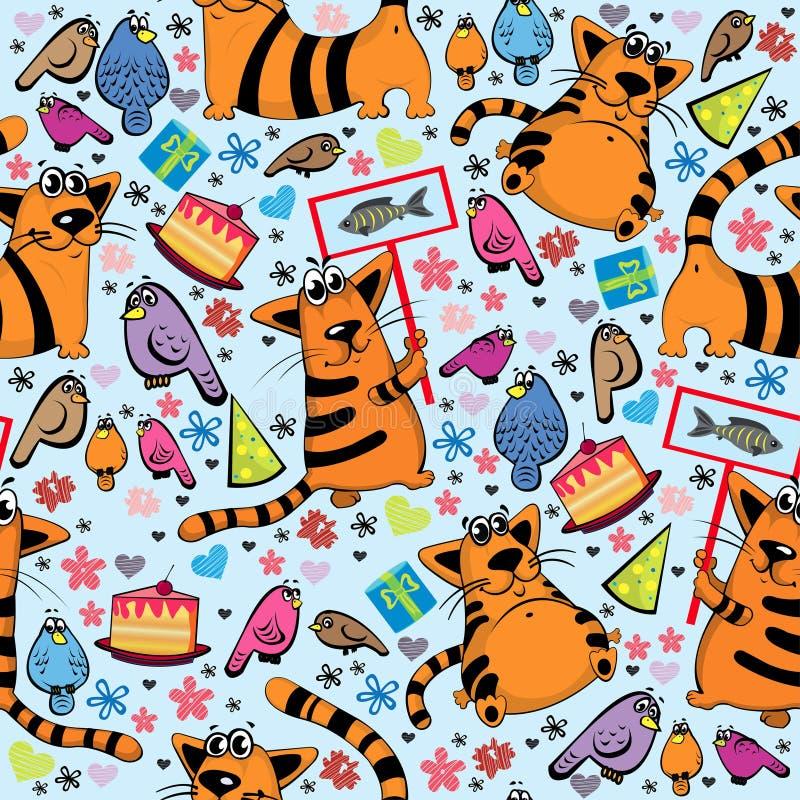 Reticolo del fumetto con i gatti e gli uccelli illustrazione di stock