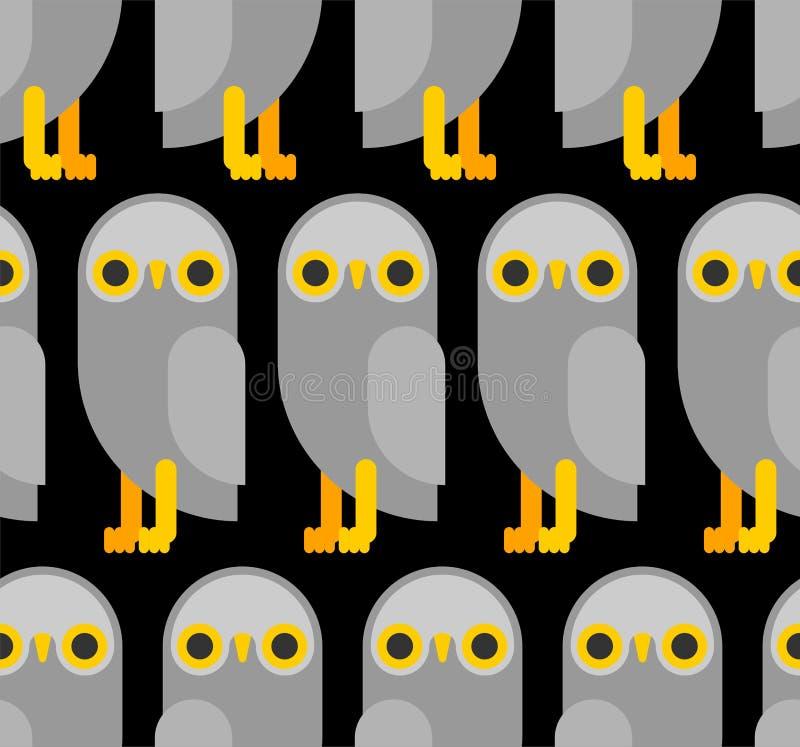 reticolo del gufo senza giunte fondo piano del gufo reale struttura di vettore dell'uccello illustrazione vettoriale