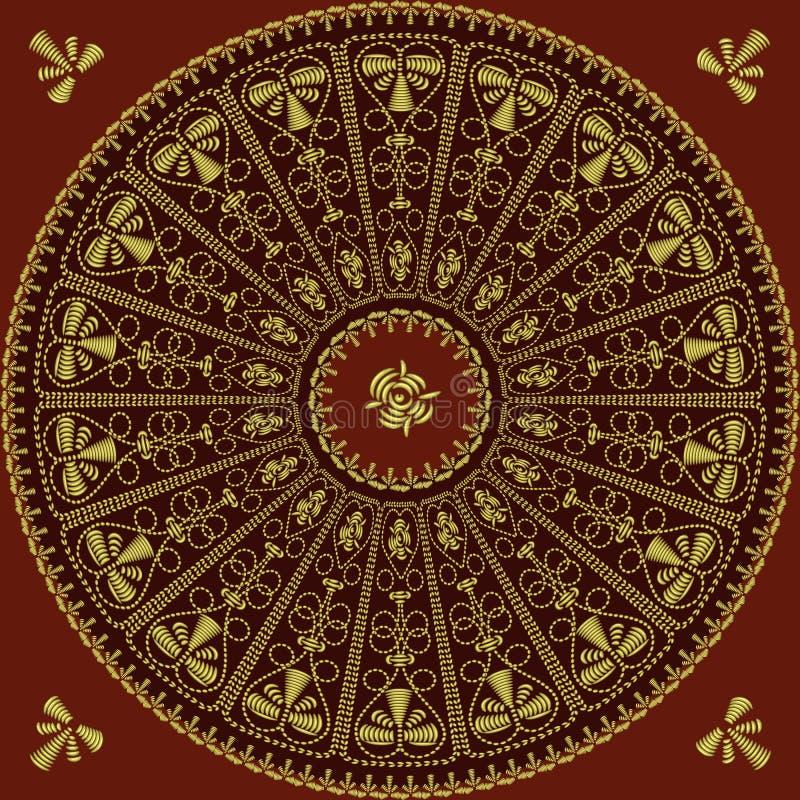 Reticolo del merletto del cerchio del ricamo dell'oro illustrazione di stock