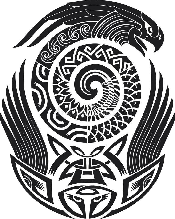 Reticolo del tatuaggio dello Snake-bird illustrazione vettoriale