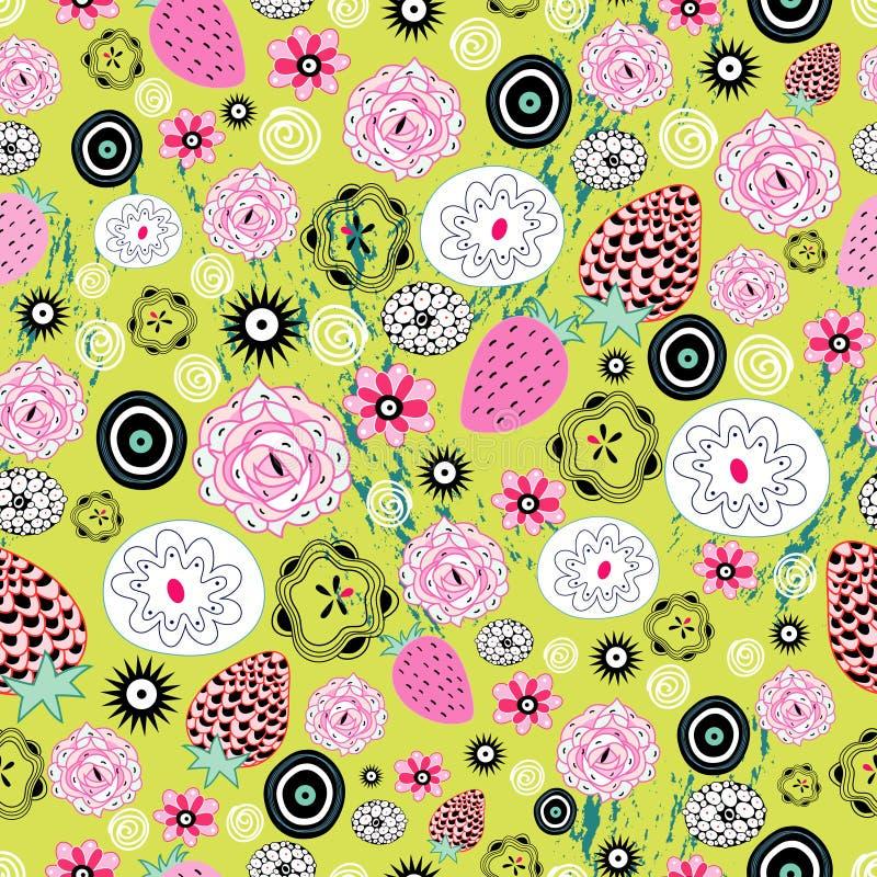 Reticolo della bacca e floreale illustrazione di stock