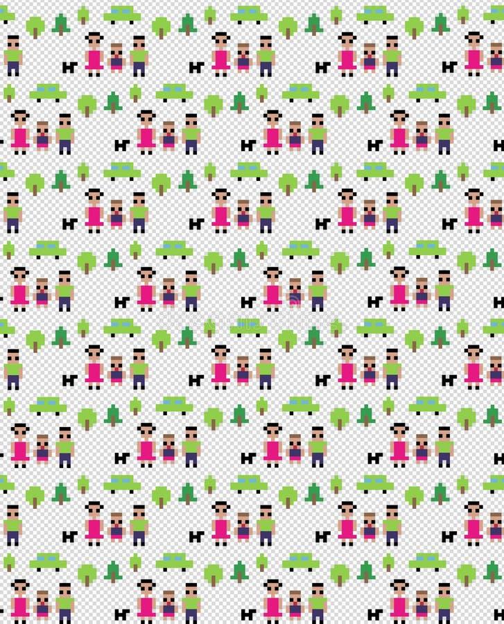 Reticolo della famiglia del pixel royalty illustrazione gratis