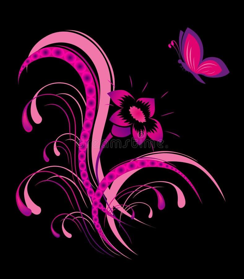 Reticolo di fiore astratto con la farfalla illustrazione di stock