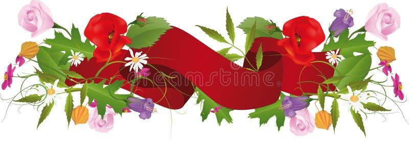 Reticolo di fiore e del nastro royalty illustrazione gratis