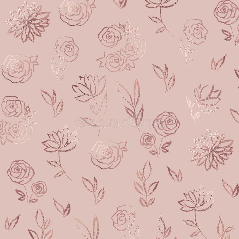 Reticolo di fiore Oro di Rosa Fondo elegante di vettore con effetto della stagnola per la progettazione illustrazione di stock