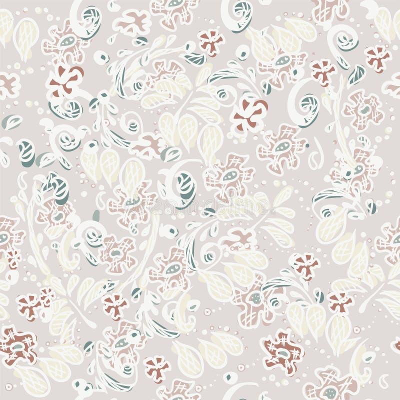 Reticolo di fiore Progettazione senza cuciture per la carta da parati nello stile di scarabocchio Ornamento naturale astratto per illustrazione vettoriale