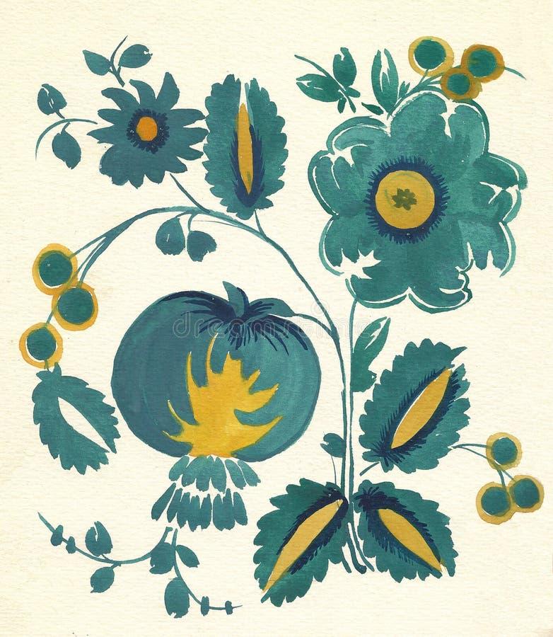 Reticolo di fiore russo del Water-colour immagini stock