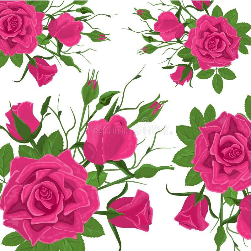 Reticolo di fiore senza giunte Rose rosa d'annata con le foglie verdi Fondo senza cuciture decorativo floreale per nozze illustrazione vettoriale